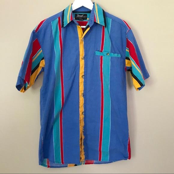 8dca9544 Vintage 90's Streetwear Colorful Button Down Shirt.  M_5b3a2e95a31c332087d9044a